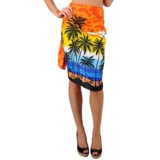 La Leela Women's Plus-size Orange Beach Sarong Cover-up
