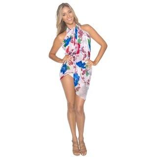 La Leela Women's Maroon Floral Chiffon Sarong Cover-up