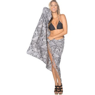 La Leela Women's Black/ White Leopard Print Sarong Cover-up