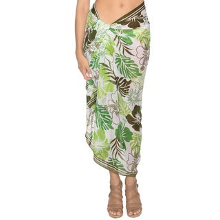 La Leela Women's Green Leaf/ Hibiscus Sheer Chiffon Sarong Cover-up