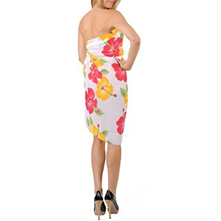 La Leela Women's Yellow/ Pink Hibiscus Sarong Cover-up