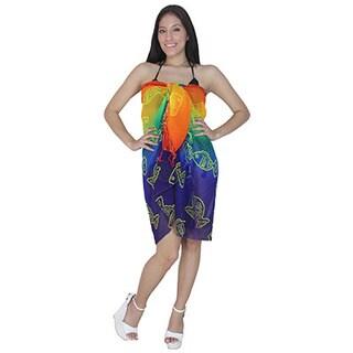 La Leela Multicolored Sheer Chiffon Fish Print Sarong
