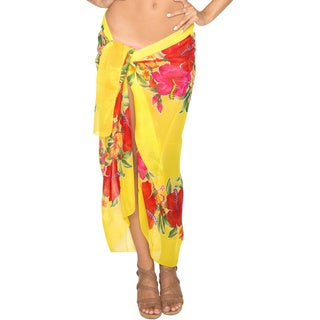 La Leela Yellow Hawaiian Floral Sarong