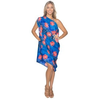 La Leela Blue Hibiscus Floral Printed Sarong