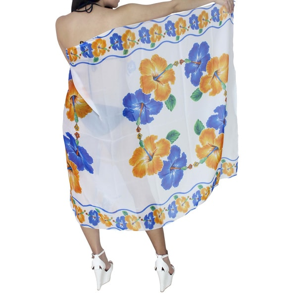 La Leela Blue and White Hibiscus Print Sarong