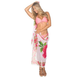 La Leela White and Pink Hibiscus Floral Sheer Sarong