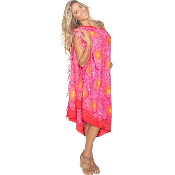 La Leela Pink Self Printed Beach Sarong