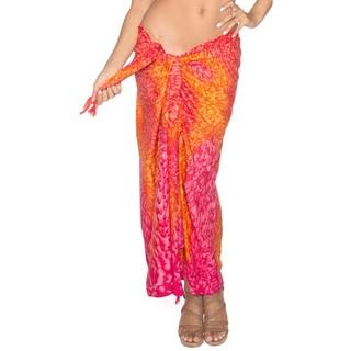 La Leela Red Abstract Textured Sarong