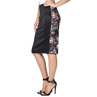Women's Black Floral Pencil Skirt