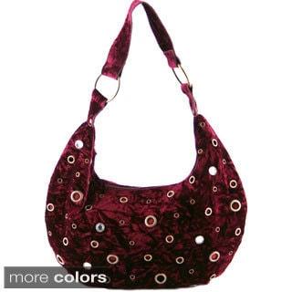 24/7 Comfort Apparel Faux Velvet Rhinestone and Grommet Handbag