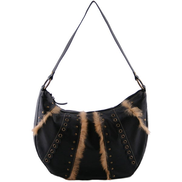 24/7 Comfort Apparel Faux Leather Fur-trimmed Handbag