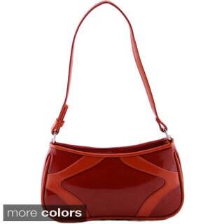 24/7 Comfort Apparel Faux Patent Leather Mini Shoulder Bag
