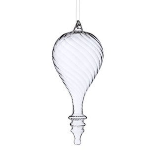 Sage & Co 8-inch Glass Swirl Teardrop Christmas Ornament (Pack of 4)