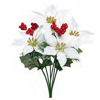 Sage & Co 13-inch Poinsettia And Holly Bush (Assortment of 3/ Pack of 24)