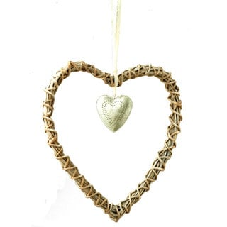 Sage & Co 11-inch Rattan Silver Heart Christmas Ornament (Pack of 12)