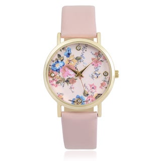 Journee Collection Rhinestone Floral Round Face Quartz Watch