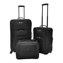 US Traveler Delmont 3-Piece Expandable Luggage Set Black