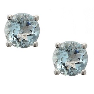 D'yach Sterling Silver Aquamarine Stud Earrings