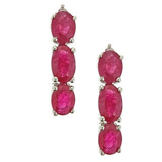D'yach 14k White Gold Thai Ruby Diamond Accent Earrings