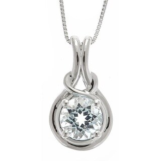 D'yach Sterling Silver Round Aquamarine Pendant Necklace