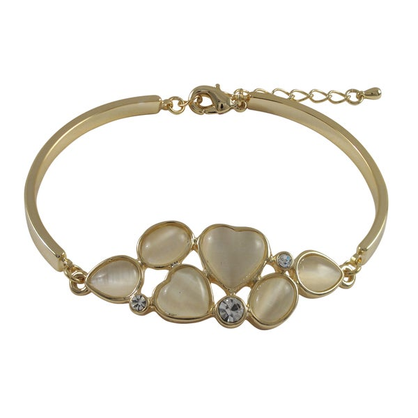 Gold Finish Heart Design Multi-color Crystals Bangle Bracelet