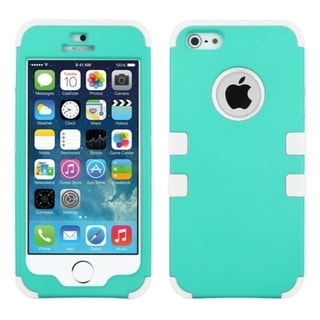INSTEN White Tuff Dual Layer Hybrid Rubberized Hard PC/ Silicone Phone Case Cover For Apple iPhone 5/ 5S/ SE