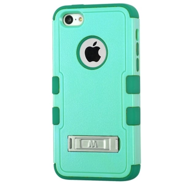 INSTEN Blue/ Green Tuff Hard Snap-On Phone Case Cover With Stand For Apple iPhone 5C