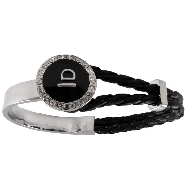 Silvertone White Crystals Braided Leather Black Enamel Dome Bangle Bracelet