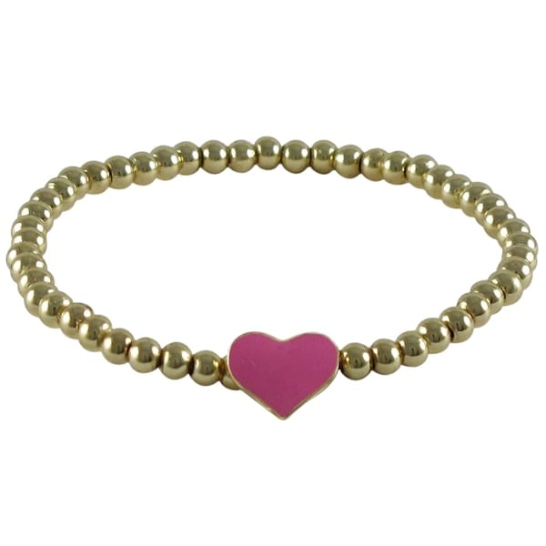 Gold Finish Balls Enamel Heart Girls Stretch Bracelet