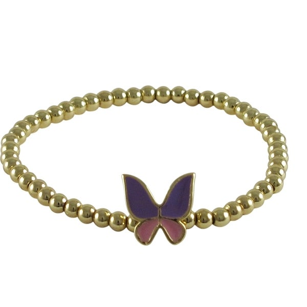 Luxiro Girls' Enamel Butterfly and Gold Finish Stretch Ball Beads Bracelet 14404966