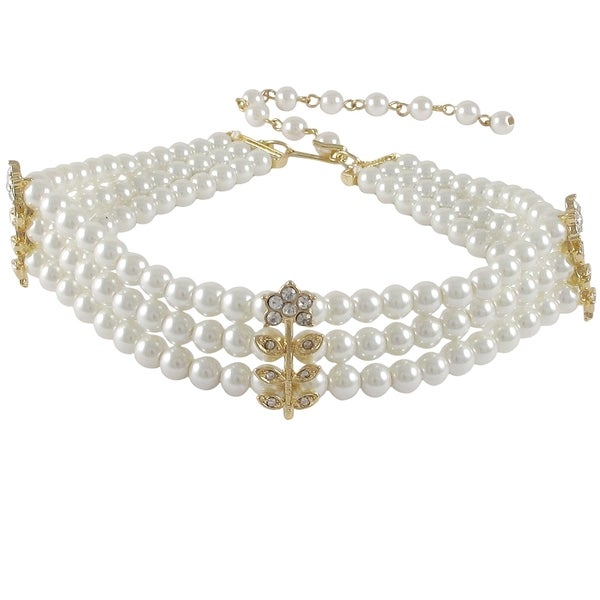 Glass Faux Pearls Crystal Flower Three Row Choker Necklace