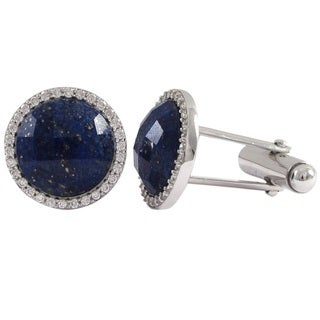 Men's Sterling Silver Faceted Round Gemstone and Cubic Zirconia Cufflinks