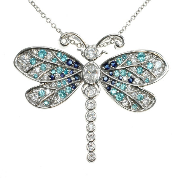 Michael Valitutti Sterling Silver Cubic Zirconia 'Dragonfly' Pendant
