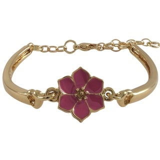 Luxiro Goldtone Enamel Flower Girls Bangle Bracelet