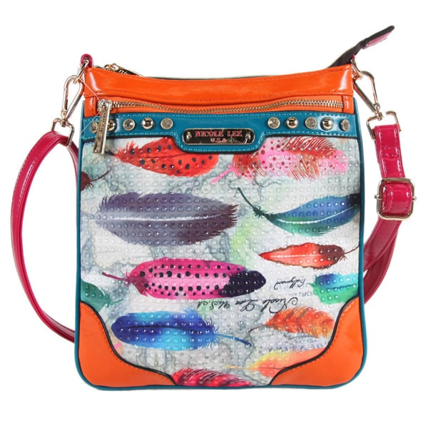 Nicole Lee Feather Print Cross Body Bag