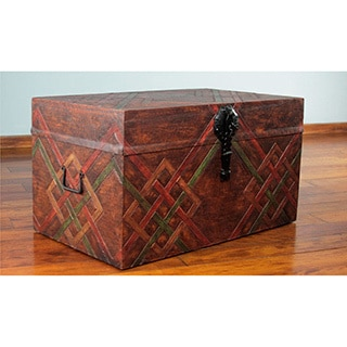 Hand-crafted Leather Nutmeg Wood 'Interwoven' Chest (Peru)