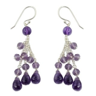Sterling Silver 'Violet Cascade' Amethyst Waterfall Earrings (India)