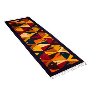 Handcrafted Zapotec Wool 'Fish Fiesta' Runner (2x6) (Mexico)