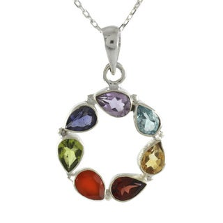 Sterling Silver 'Peace Within' Multi-gemstone Necklace (India)