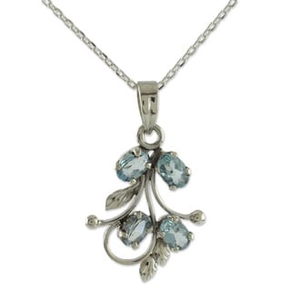 Sterling Silver 'Sonnet' Blue Topaz Pendant Necklace (India)