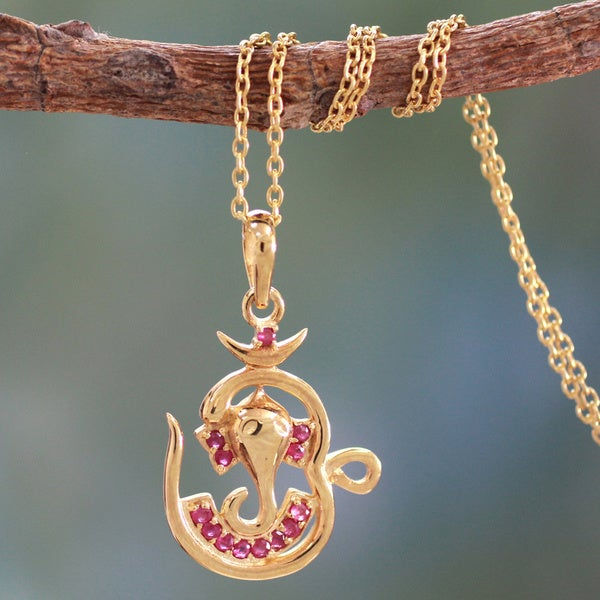 Hand-crafted Gold Vermeil 'Om Ganesha' Ruby Necklace (India)