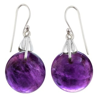 Sterling Silver 'Moon Of Mysticism' Amethyst Earrings (India)
