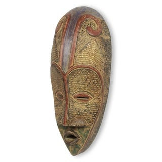 Hand-crafted Sese Wood 'Ahoufe' African Mask (Ghana)