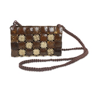 Hand-crafted Coconut Shell 'Flowers Squared' Shoulder Bag (Thailand)