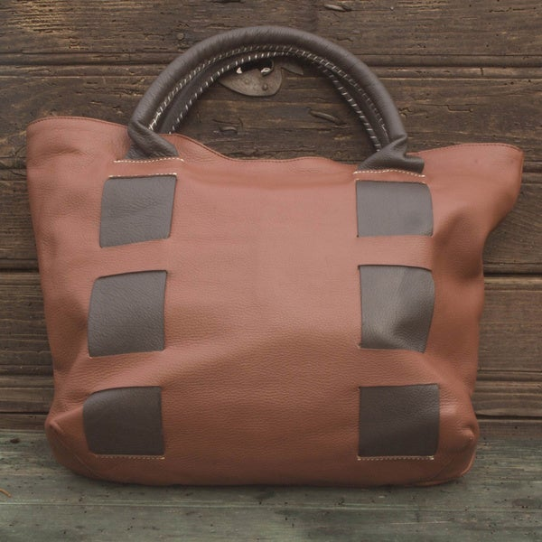 Hand-crafted Leather 'Think Big' Tote Handbag (Mexico)