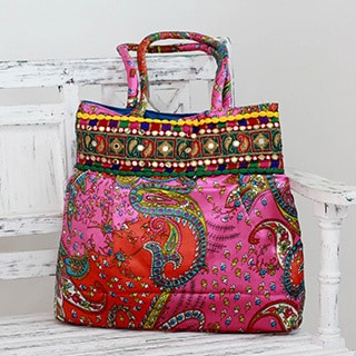 Hand-crafted Polyester 'Gujarat Paisley' Shoulder Bag (India)