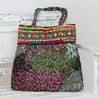 Hand-crafted Polyester 'Peacock Palampore' Shoulder Bag (India)