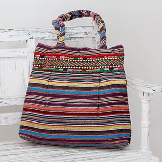 Hand-crafted Cotton 'Autumn Stripes' Shoulder Bag (India)
