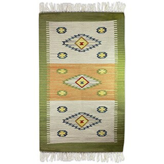 Hand-crafted Indo Wool 'Diamonds In The Meadow' Dhurrie Rug (3' x 5')
