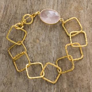 Goldplated 'Golden Spring' Rose Quartz Link Bracelet (Thailand)